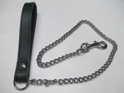 Forest Green Leather  Welded Medium  Chain Leash